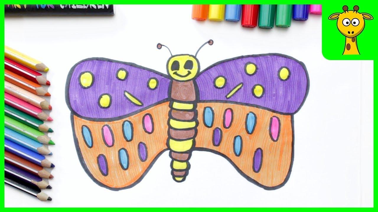 schmetterling zeichnen  ausmalen für kinder  schritt für
