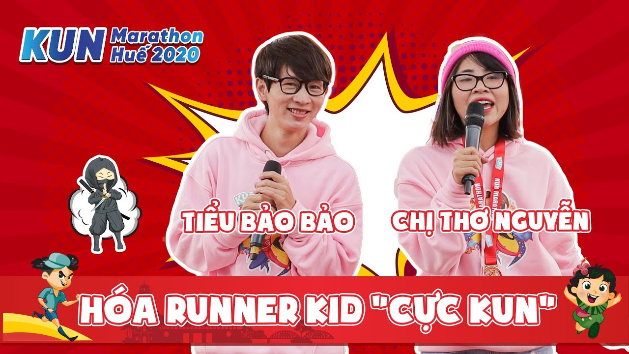 KUN MARATHON HUẾ | Chị Thơ và anh Tiểu Bảo hóa thành Runner Kid cực KUN
