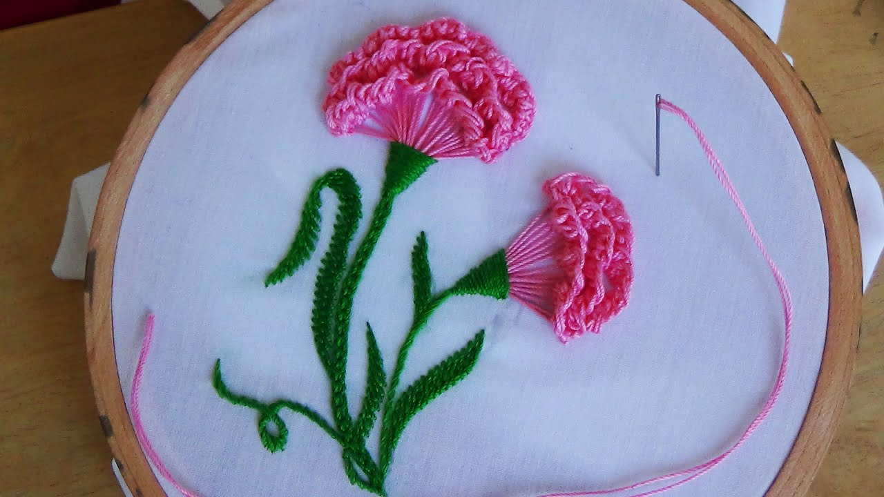 Hand embroidery carnation flower viyoutube