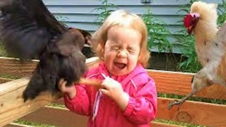 Funny Chickens & Roosters Chasing Kids - Funny Chicken Videos #36