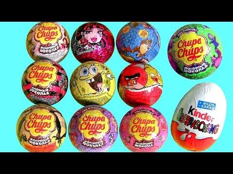 Surprise Eggs Chupa Chups Kinder SpongeBob AngryBirds MonsterHigh PeppaPig Nickelodeon