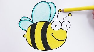 Dibujando y coloreando a la Abeja - Drawing and coloring Bee