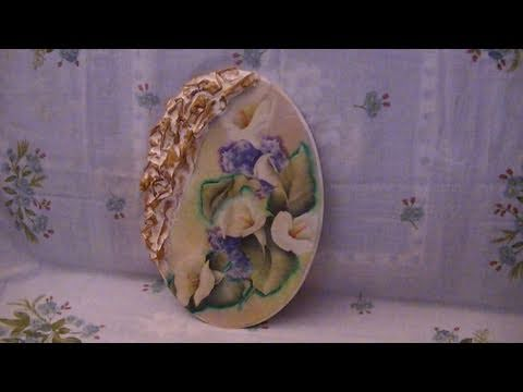 Tutorial: Decoupage su disco ovale in legno con calle e decori in ...