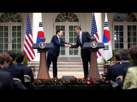 President Obama and President Lee of the Republic of Korea Talk to the Press