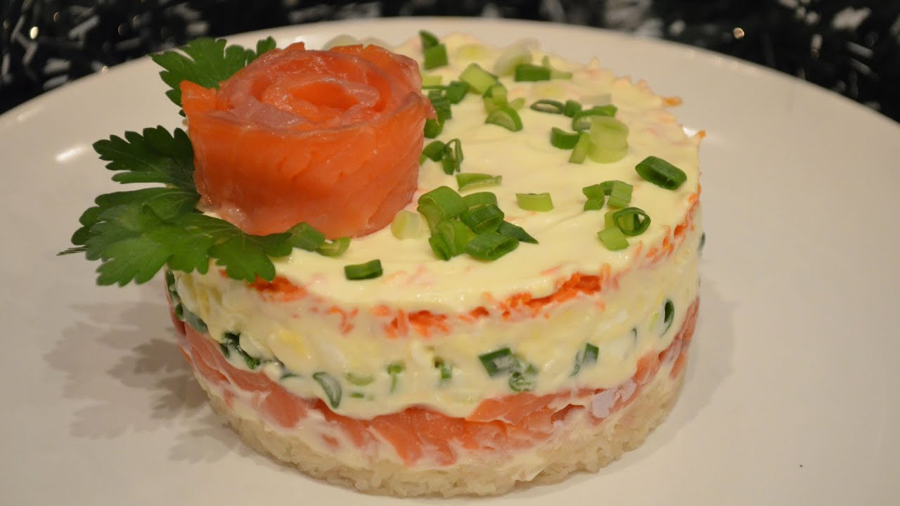 Вкусный салат из семги или форели