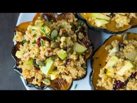 Quinoa & Apple Stuffed Acorn Squash Easy Vegan Fall Recipe
