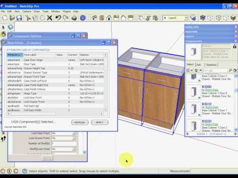 Sketchup Kitchen Cabinet Dynamic Component Attributes Youtube