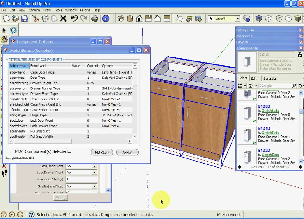 SketchUp Kitchen Cabinet Dynamic Component Attributes