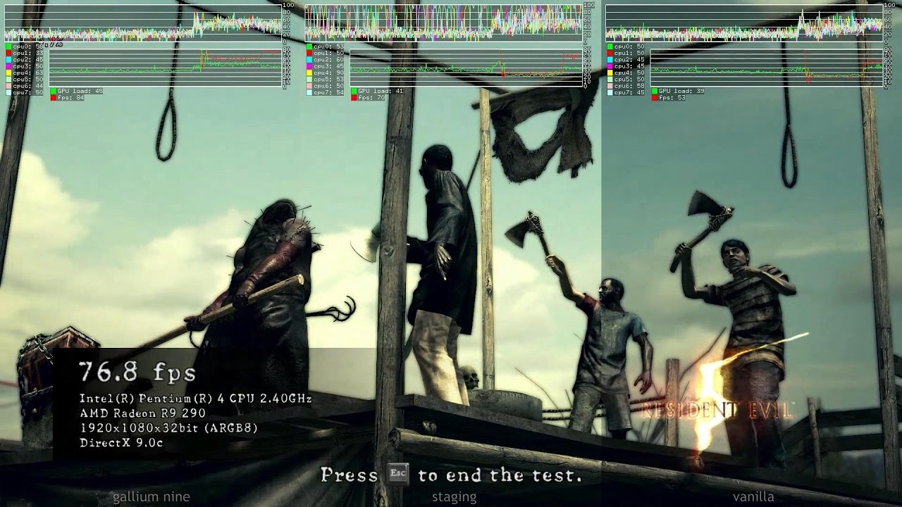 Resident Evil 5 ·· Linux Benchmark ·· vanilla Wine vs Staging vs Gallium  Nine