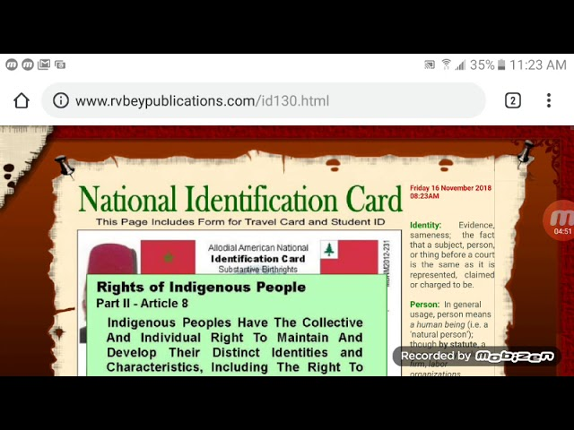 Order Identification Card at RV Bey Publications and Moorish American  Consulate