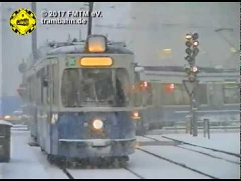 Tram München: Trambahnen im Schnee in den 90ern