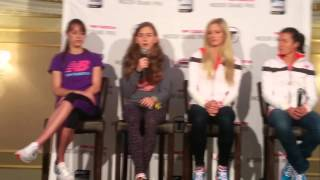 Jenny Simpson, Mary Cain, Emma Coburn and Kim Conley talk at 2014 New Balance Grand Prix
