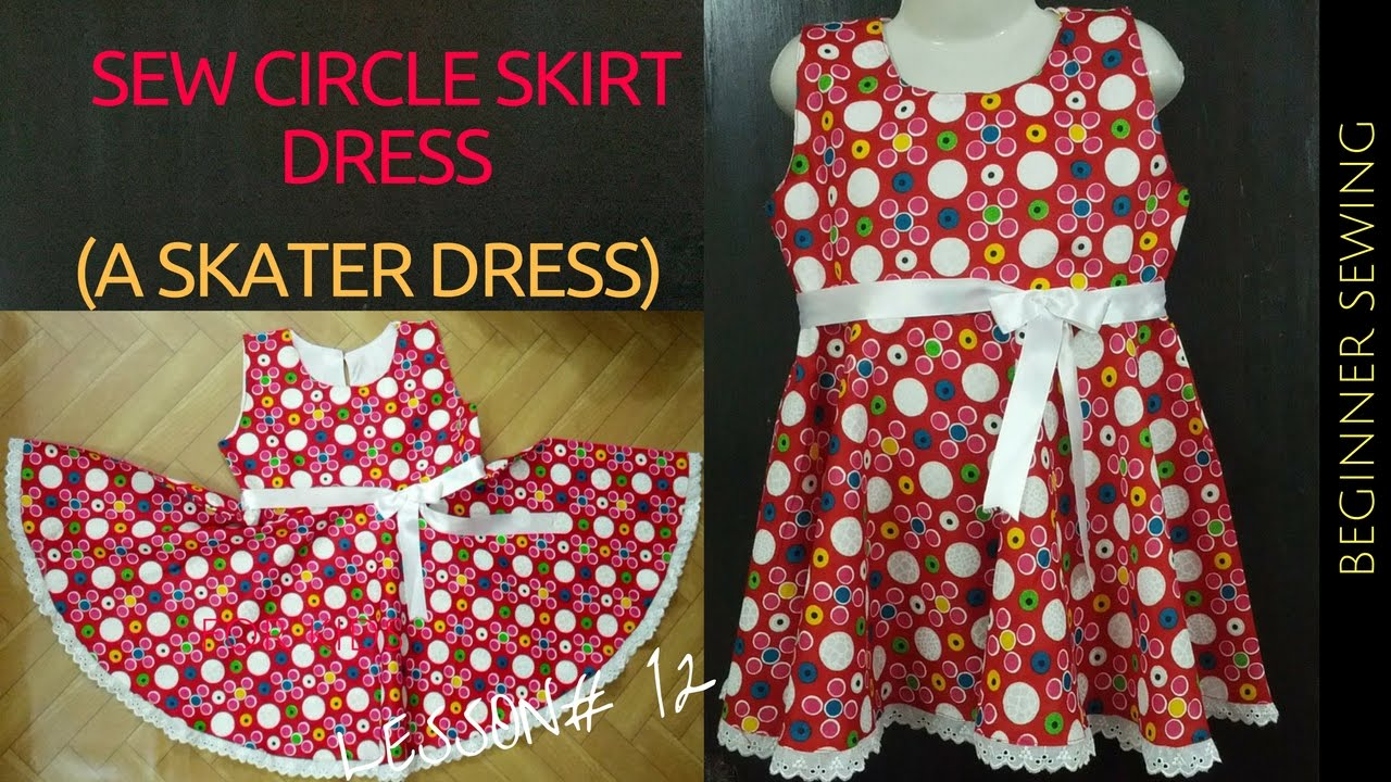 DIY CIRCLE SKIRT DRESS (Free Pattern) - A Skater Dress - Beginners ...