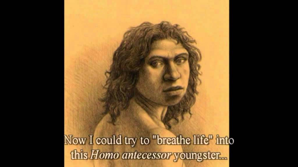 "Homo antecessor yang diduga kuat saling memangsa untuk memperoleh nutrisi mudah dan ""murah"" ( (gambar darihttps://www.youtube.com/watch?v=ID-44QMnfsA)"