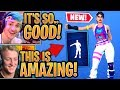 """Ninja & Streamers React to the *NEW* """"NO SWEAT"""" Emote & """"COMBO CLEAVER"""" Pickaxe! - Fortnite Moments"""