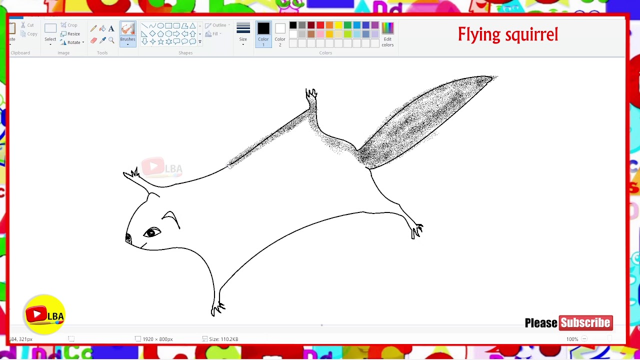 How To Draw Flying Squirrel Learnbyarts Youtube