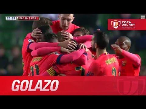 Golazo de falta de Mathieu (0-1) en el Elche CF - FC Barcelona