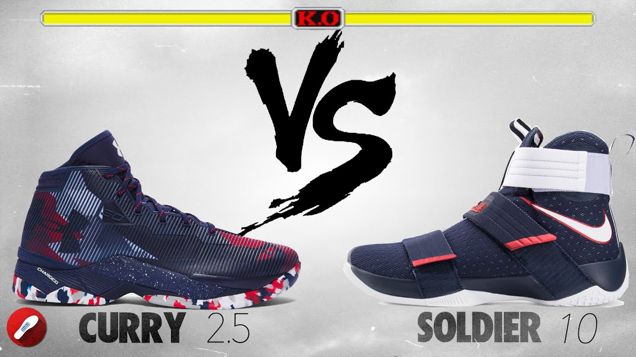 68ba64b38cc5 Under Armour Curry 2.5 vs Nike Lebron Soldier 10! - YouTube