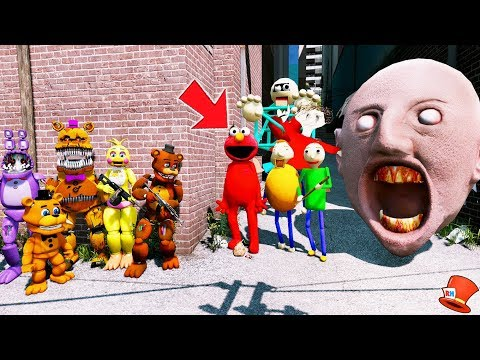 CAN THE ANIMATRONICS DEFEAT THE ELMO GRANNY HEAD & BALDI'S CHARACTERS? (GTA 5 Mods FNAF RedHatter) thumbnail