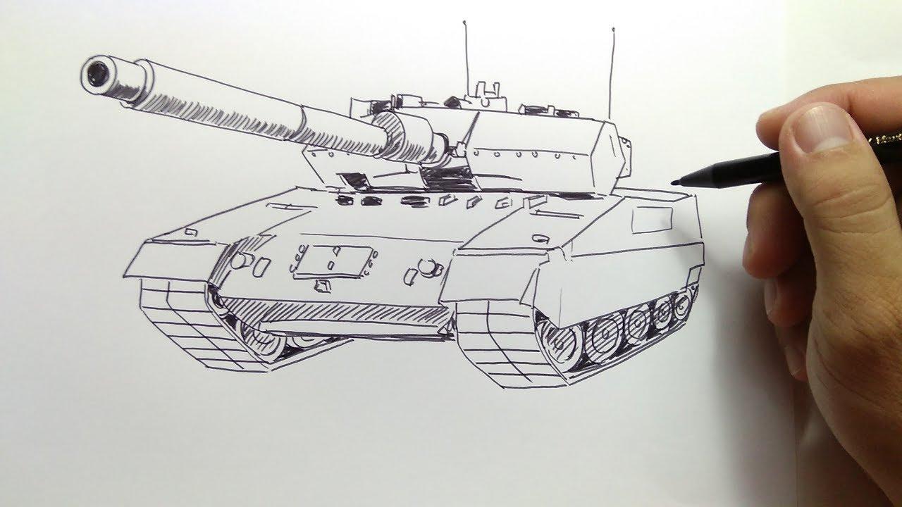 cara menggambar mobil tank perang militer