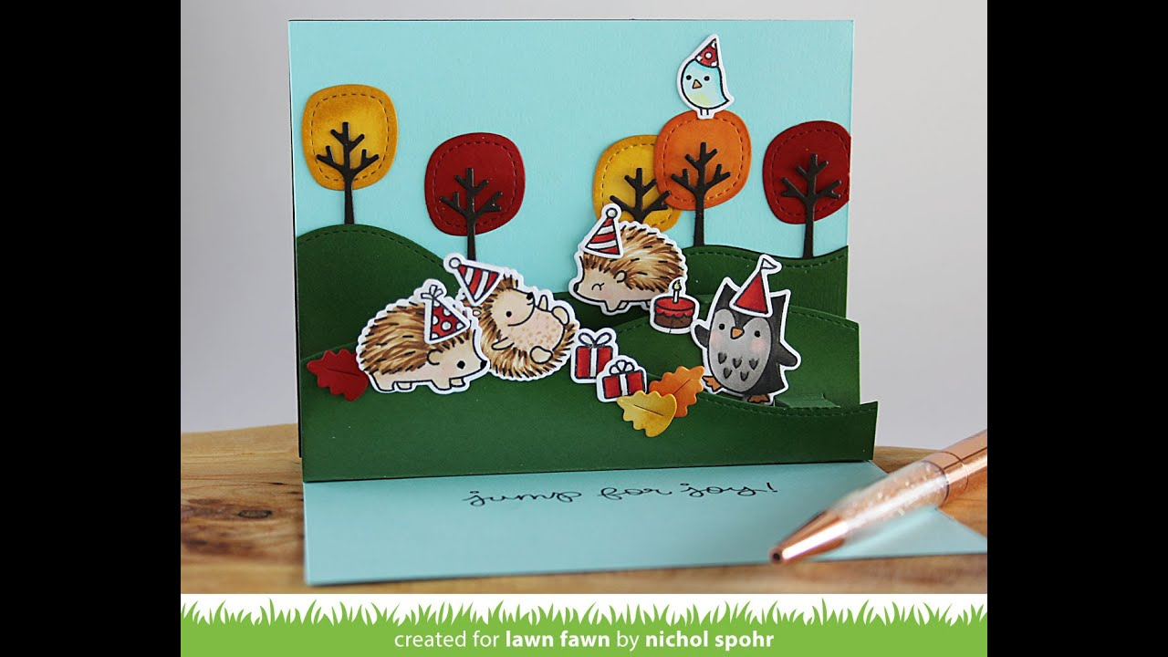 Stitched Hillside Pop Ups Birthday Card Lawn Fawn YouTube