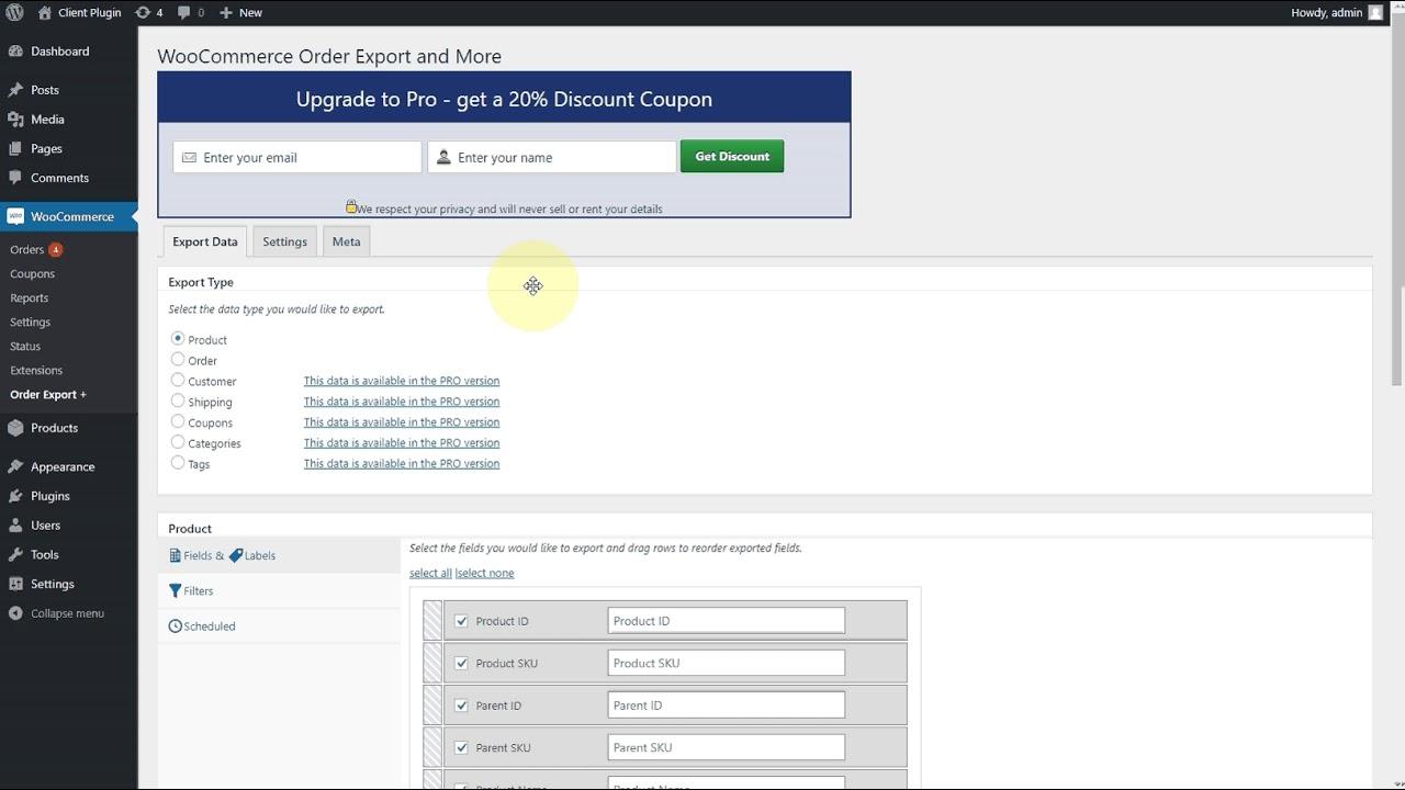 WooCommerce order Export Free Plugin
