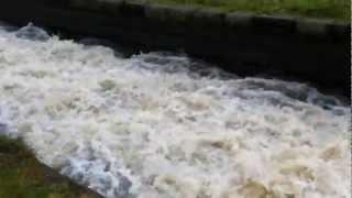 High flood water at Carr Mill Dam St Helens Merseyside