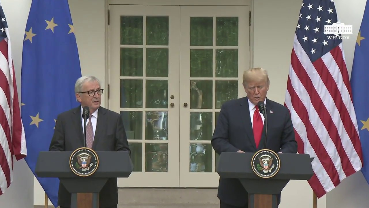 Hasil gambar untuk President Trump and the President of the European Commission Deliver Joint Statements
