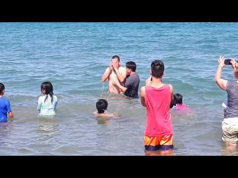 Me being baptised on lake Michigan