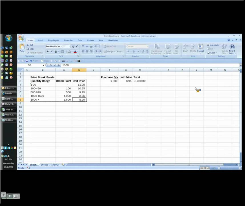MS Excel - How to Calculate Quantity Price Breaks