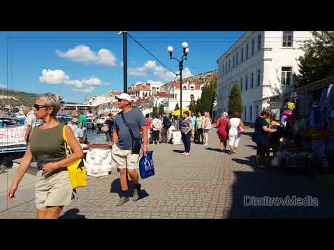 Free footage: Balaklava city. Crimean peninsula. Russia. Sea, bay. Moored yachts, ships, boats. 4K.