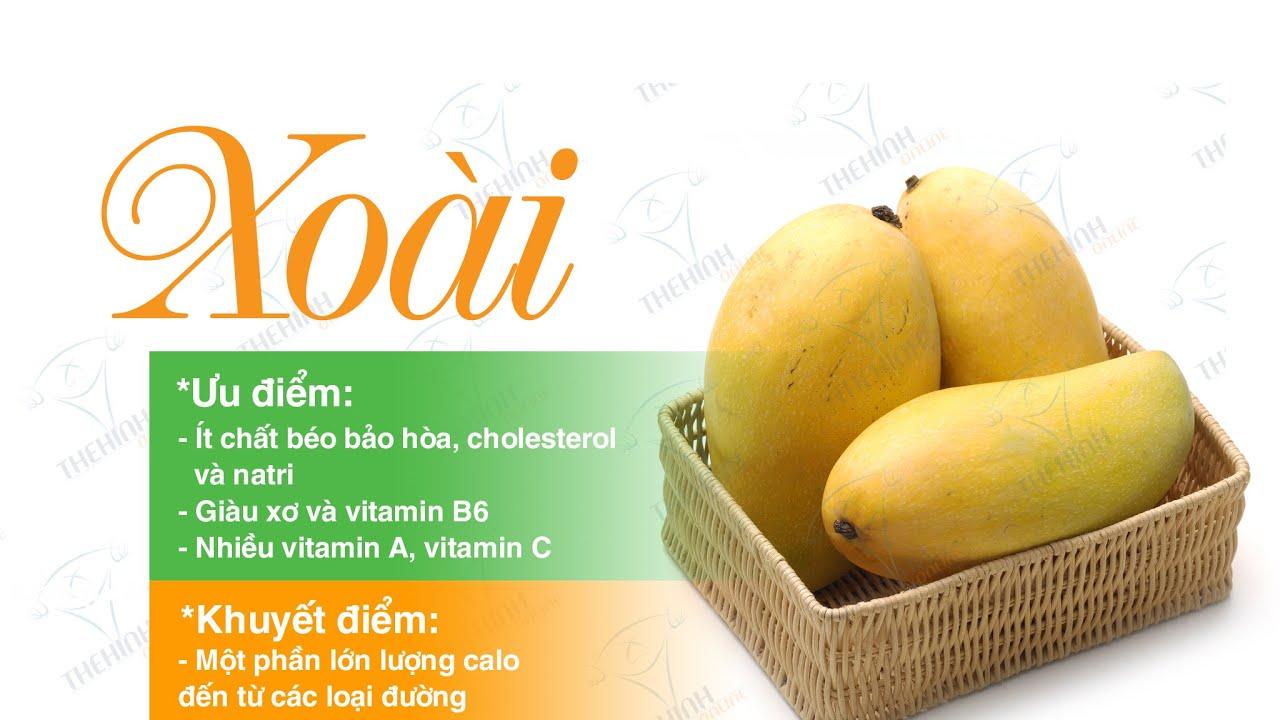 Giá trị dinh dưỡng xoài chín tươi, nguồn cung cấp đường, xơ, vitamin C