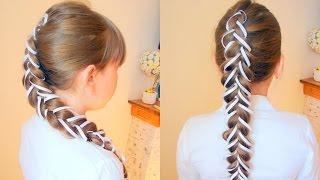Коса из трёх прядей декорированная лентами. Видео-урок.