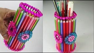 Download Video পুরাতন কলম দিয়ে কলমদানি বানানো শিখুন    How to Make a Pen Stand With Waste Pens MP3 3GP MP4