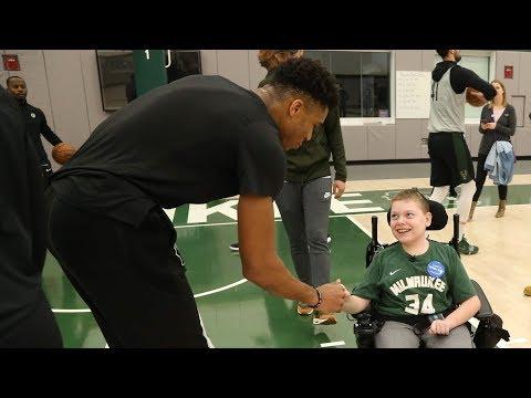 Giannis, Bucks Make Easton's Wish Come True | MIDRANGE