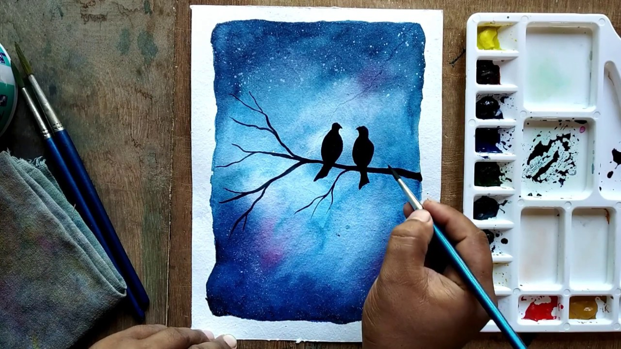 Easy Watercolor Painting For Beginners Watercolor Painting Lovebirds