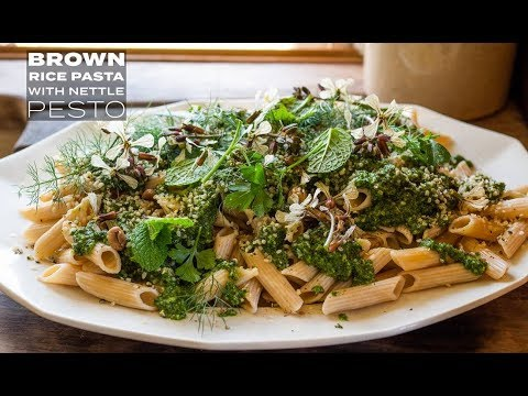Brown Rice Pasta with Nettle Pesto