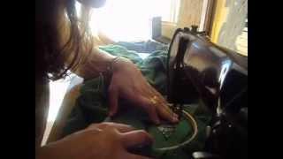 Fazendo rechilieu em máquina de pedal