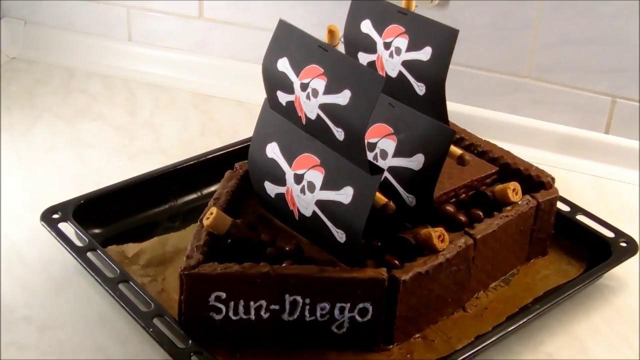 Piratenschiff Torte Zum Kindergeburtstag Einfach Super Youtube