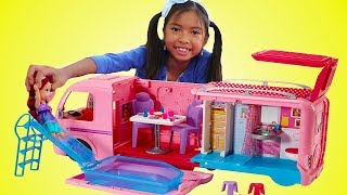 Wendy Pretend Play w/ Barbie Dream Camper Bus & Disney Princess Baby Doll Girl Toys