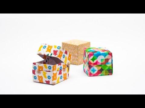 วิธีพับกล่องของขวัญแบบมีฝาปิด Origami Present Box With Lid