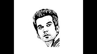 How to Draw Rajkummar Rao face pencil drawing step by step
