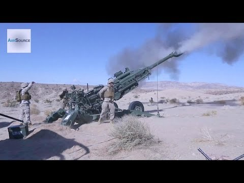US Marines Firing the M777 155mm Howitzer