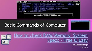 Basic Commands Of Computer How To Check RAM Memory System Specs How To Check System Information