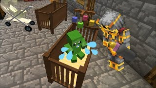 MC NAVEED AND MARIE FRIENDLY ZOMBIE HAVE A BABY DAYCARE !! DANGEROUS BABY !! Minecraft Mods
