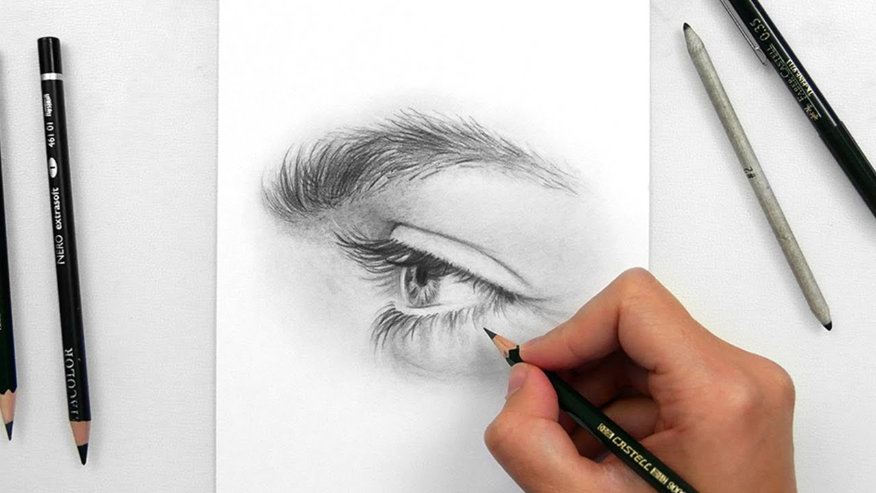 Drawing a realistic eye side view with graphite pencils