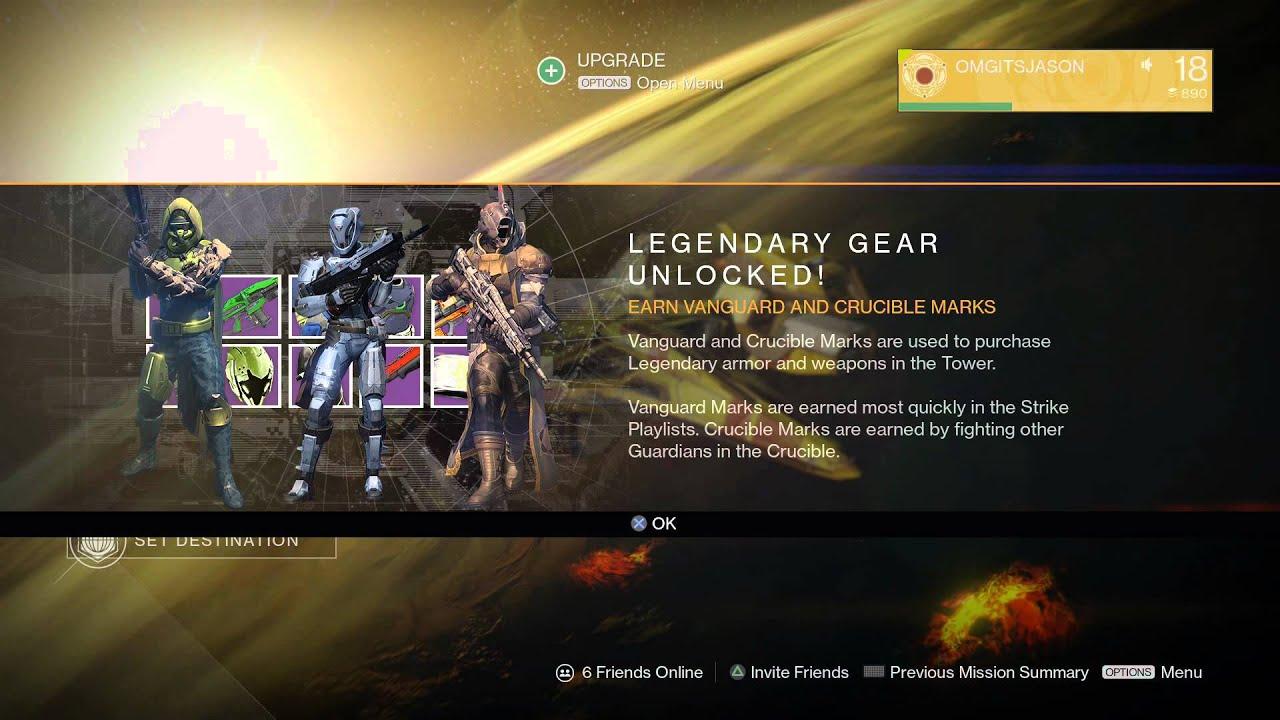 """""""Legendary Gear Unlocked"""" Earn Vanguard"""