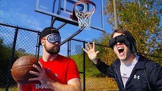 BLINDFOLDED 1v1 BASKETBALL & TRICK SHOT CHALLENGE!