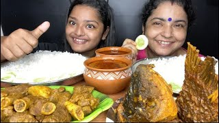 SPICY MUTTON CURRY AND SPICY FISH CURRY WITH BASMATI RICE | EATING SOUNDS | FOOD EATING VIDEOS