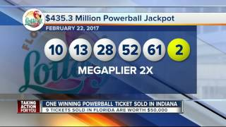 One winning Powerball ticket sold in Indiana